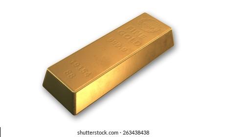 Golden bar isolated on white background