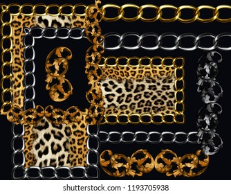 golden baroque and chains leopard bacground