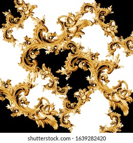 golden baroque and  ornament elements