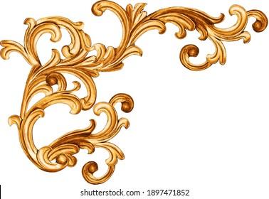 golden baroque ornament on white background