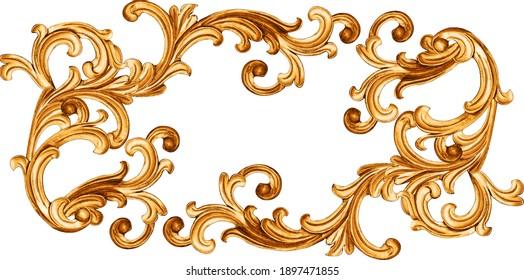 golden baroque ornament on white background - Shutterstock ID 1897471855