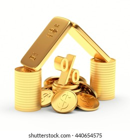 Golden bars, coins and percent sign isolated on white background. 3D illustration.