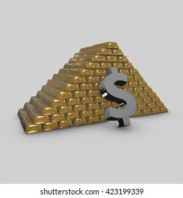 Golden bars and dollars 3D Render with white backgrounds