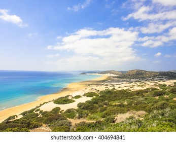 Golden beach of Northern Cyprus. Karpasia (Karpaz, Dipkarpaz) wild nature. One of the wildest places on the Earth
