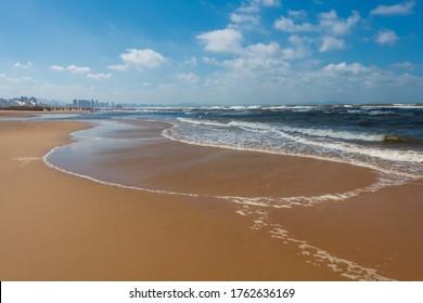 Golden beach on the Yellow Sea of Yantai, China