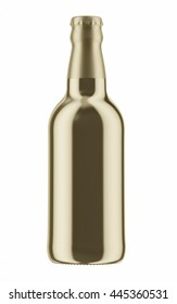 Golden beer bottle with foil cap isolated on white background. 3D Mock up for your design.