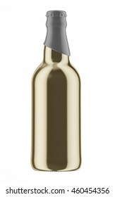 Golden beer bottle with gray cap isolated on white background. 3D Mock up for your design.