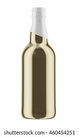 Golden beer bottle with white cap isolated on white background. 3D Mock up for your design.