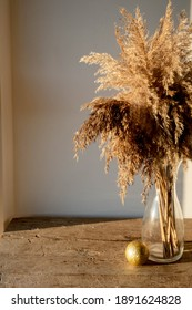 golden beige pampas grass stands in a glass vase on a wooden background in the rays of the setting sun, monochrome concept. Natural abstract background and frame