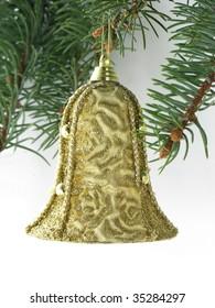 golden bell on Christmas tree
