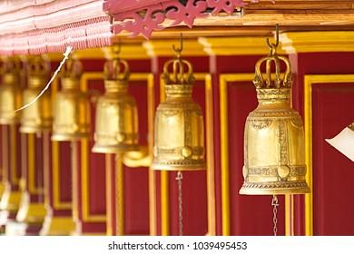 Golden bells in phriputtana temple at Sisaket Thailand