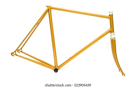 golden bicycle frame