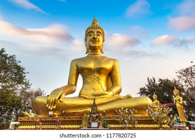 Golden Big Buddha in Pattaya, Thailand in a summer day