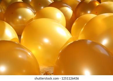 Golden Birthday Balloons Celebration Stock Photography