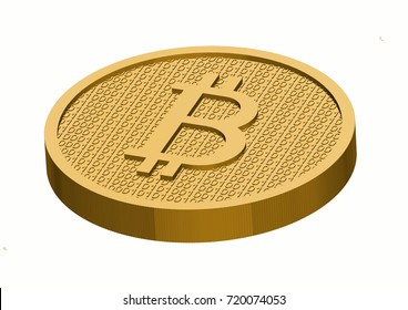 Golden Bitcoin against white background. The coin is sitting on white background..