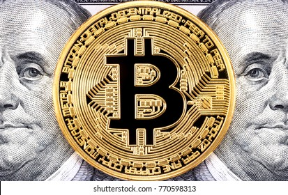 Golden bitcoin with Benjamin Franklin portrait from one hundred american dollars. Business concept of worldwide cryptocurrency