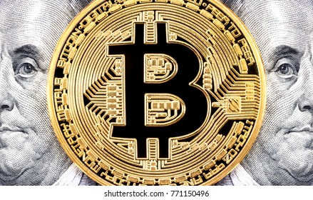 Golden Bitcoin Benjamin Franklin Portrait One Stock Photo Safe To