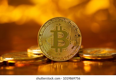 Golden bitcoin btc cryptocurrency.