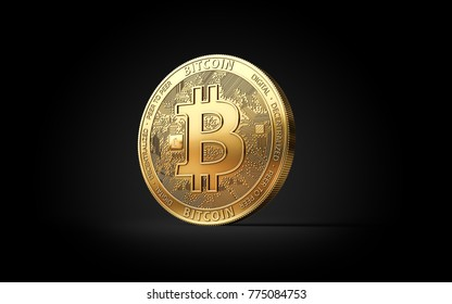 Golden Bitcoin BTC cryptocurrency coin isolated on black background. 3D rendering