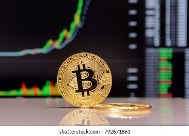 golden bitcoin and chart on monitor