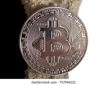 Golden Bitcoin Close Up High Quality
