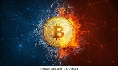 Golden bitcoin coin in fire flame, water splashes and lightning. Bitcoin Gold blockchain hard fork concept. Cryptocurrency symbol in storm illustration with peer to peer network background.