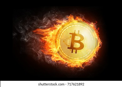 Golden bitcoin coin flying in fire flame. Burning crypto currency bitcoin symbol illustration isolated on black background.