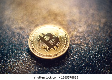 golden bitcoin coin with glitter lights grunge crypto Currency background concept. - Image