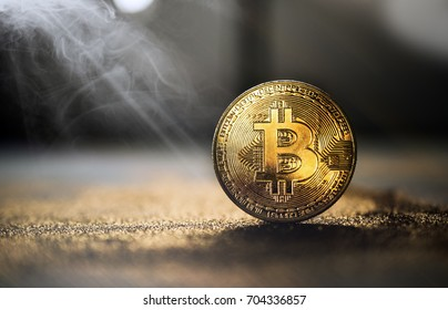 golden bitcoin coin with glitter lights grunge  crypto Currency background concept.
