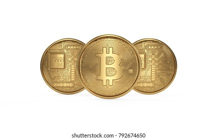 Golden bitcoin coin isolated on white background. Cryptotocurrency. Back and front side.
