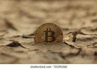 Golden Bitcoin Coin on cracked ground. Crisis concept. Bitcoin cryptocurrency.