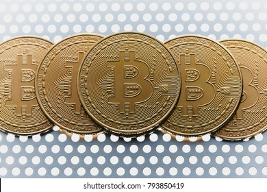 Golden bitcoin coin on white background. Silver Aluminium Sheet Perforated.