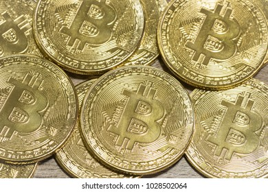 Golden bitcoin are conceptual image for crypto currency, Many symbolic coin closeup