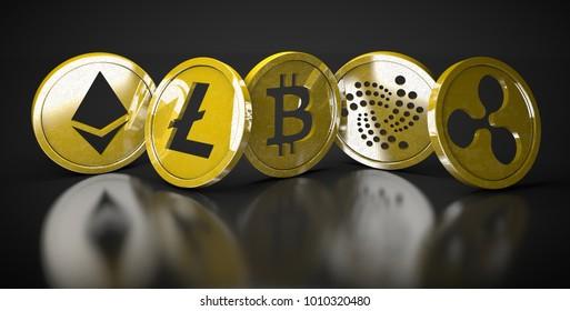 Golden bitcoin digital currency, futuristic digital money, technology worldwide network concept. Bitcoin, Litecoin, Etherum, Ripple, Iota 3D rendering