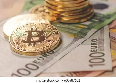 Golden bitcoin Euro background. Bitcoin cryptocurrency.
