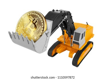 Golden Bitcoin in a excavator isolated on white background