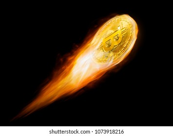 Golden bitcoin flying in fire Burning isolated on black background.