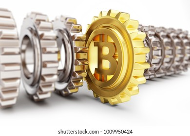 Golden Bitcoin in a gear on a white background 3D illustration, 3D rendering