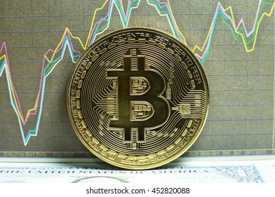 A golden bitcoin with graph and dollar background. trading concept of crypto currency