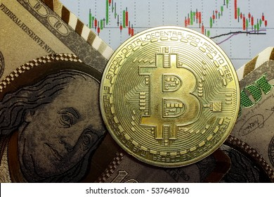 A golden bitcoin with graph and dollar background.  conceptual closed-up image of crypto currency trading.