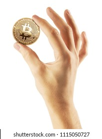 Golden Bitcoin in hand isolated on white background