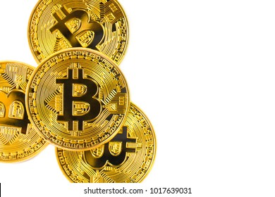 Golden Bitcoin isolated on white background, new virtual money.