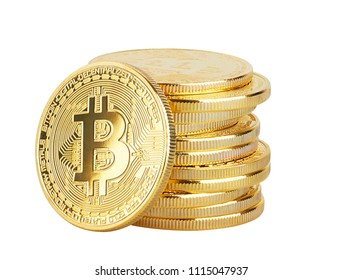Golden Bitcoin isolated on white background