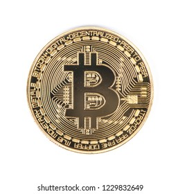 Golden bitcoin isolated on a white background