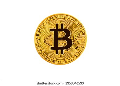 Golden bitcoin isolated on white background. Digital currency. Cryptocurrency