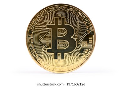 Golden bitcoin isolated on white background. High resolution photo. Full depth of field.