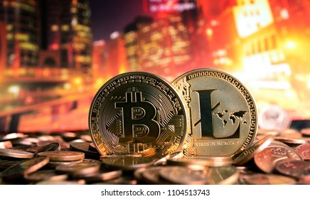 golden bitcoin and litecoin on colorful background