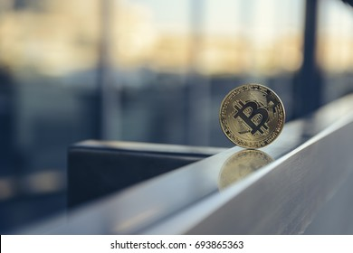 golden bitcoin Ñ?n metal handrail