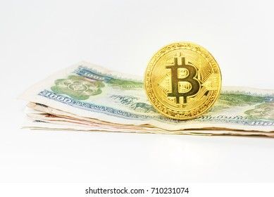 Golden bitcoin money background. Bitcoin cryptocurrency