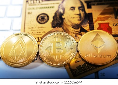 Golden Bitcoin and mound of money. Digital cryptocurrency concept